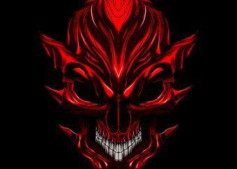 Devil evil skull T-shirt template vector illustration