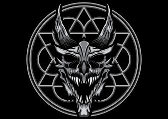 Dragon skull angry T-shirt template vector illustration