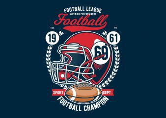 Football League Helmet Graphic t-shirt design
