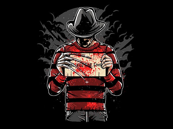 Freddy Will Kill For Food Graphic t-shirt design