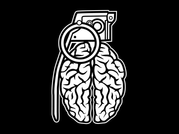 Grenade Brain Graphic t-shirt design