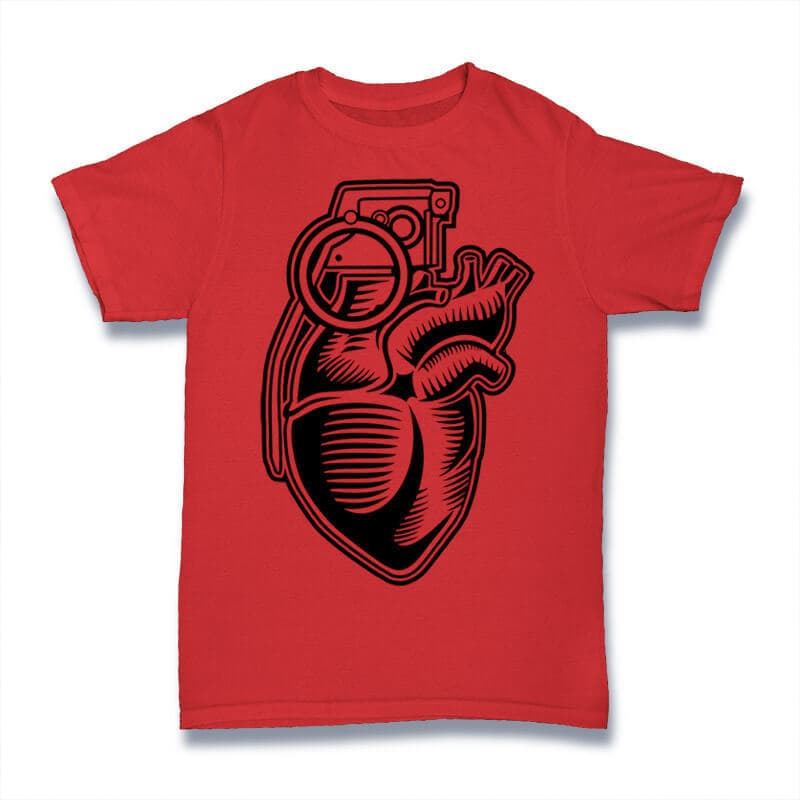 Grenade Heart Graphic t-shirt design buy t shirt design