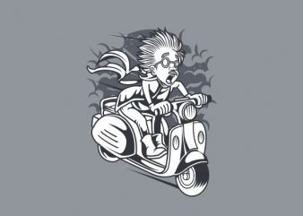 Mad Scientist Scooter Vector t-shirt design