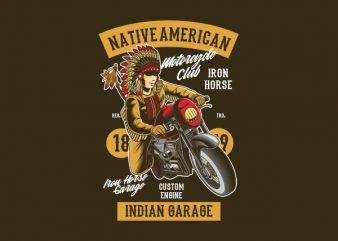 Native American Biker Vector t-shirt design buy t shirt design