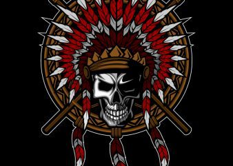 Native American Indian Feather headdress with Human Skull T-shirt Template Design vector illustration buy t shirt design
