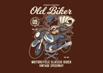 Old Man Biker Graphic t-shirt design
