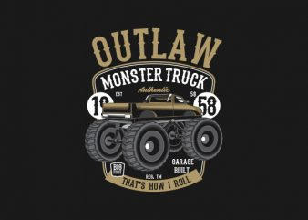 Outlaw Monster Truck tshirt design buy t shirt design