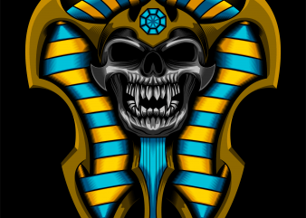Pharaoh sarcophagus Skull vector T-shirt design template