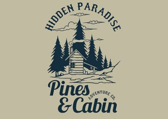 Pines and Cabin tshirt design