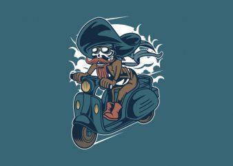 Pirate Scooter Vector t-shirt design buy t shirt design