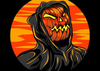 Reaper Pumkin t-shirt design template vector illustration