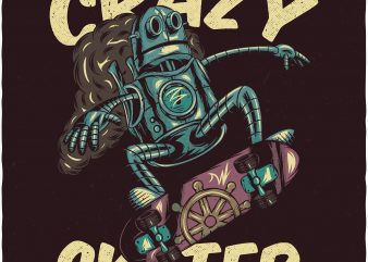 Crazy skater. Vector T-Shirt Design buy t shirt design