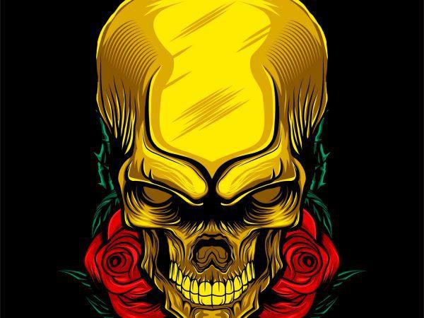 Rose gold skull head T-shirt template design vector illustration art