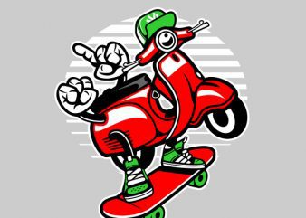 Scooter Skater Graphic t-shirt design