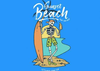 Skull Surf and Beer Vector t-shirt design