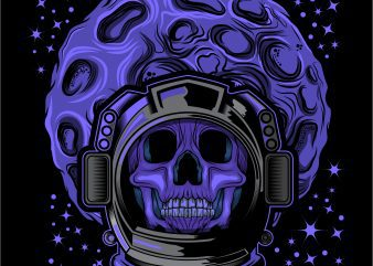 Skull face head Astronaut helmet T-shirt design template vector illustration buy t shirt design