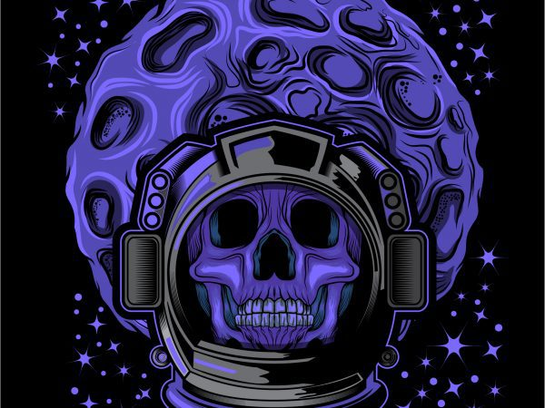 skull face head astronaut helmet t shirt design template vector