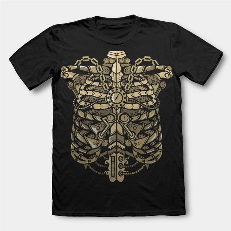 Steampunk Ribcage Graphic t-shirt design buy t shirt design