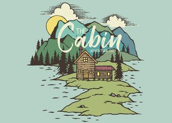 The Cabin On Lake Graphic t-shirt design