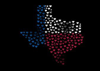 texas heart Vector t-shirt design