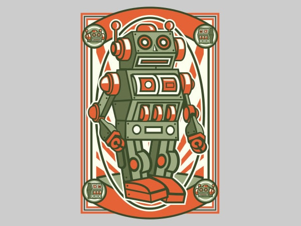 Vintage Robot Vector t-shirt design buy t shirt design