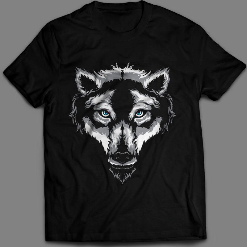 Wolf T Shirt Design Template Vector Art