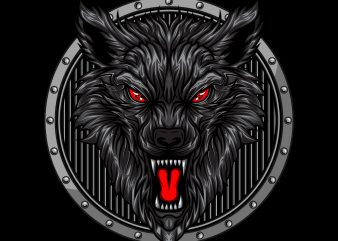 angry wolf head in circle ornament t-shirt vector illustration buy t shirt design