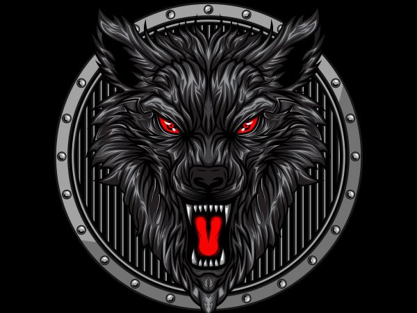 angry wolf head in circle ornament t-shirt vector illustration