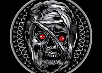 mummy t-shirt vector illustration art on circle ornament