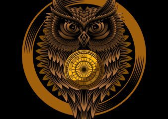 Owl clock T-shirt design vector illustration