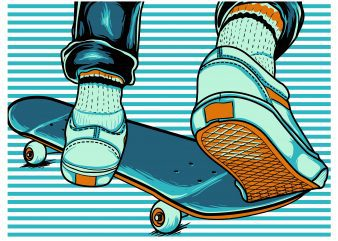 skate board stripes t shirt template vector