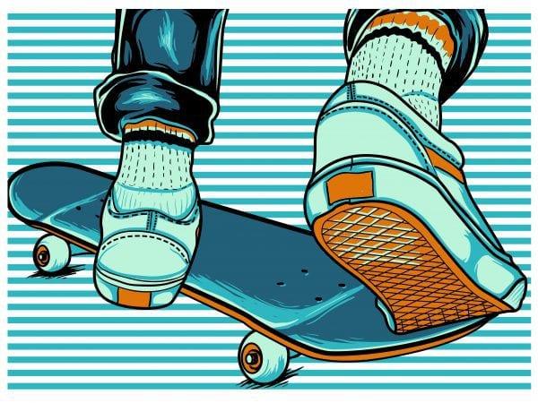 skate board stripes t shirt template vector