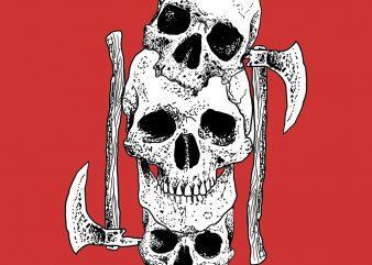 skull axe tshirt design