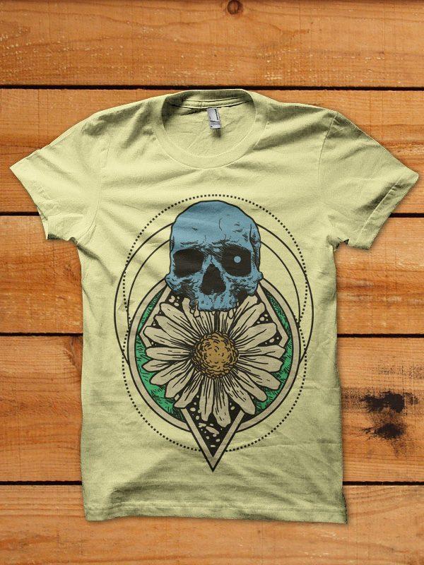skull flower graphic t-shirt design buy t shirt design