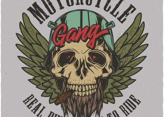 Motorcycle gang. Vector T-Shirt Design