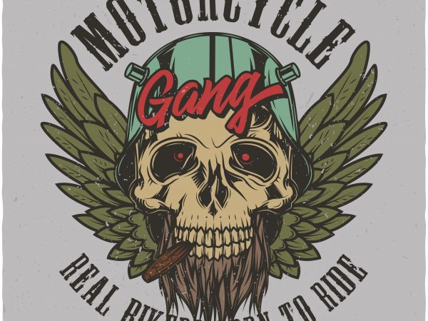Motorcycle gang. Vector T-Shirt Design buy t shirt design