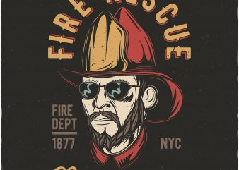 Fire rescue brotherhood. Vector T-Shirt Design