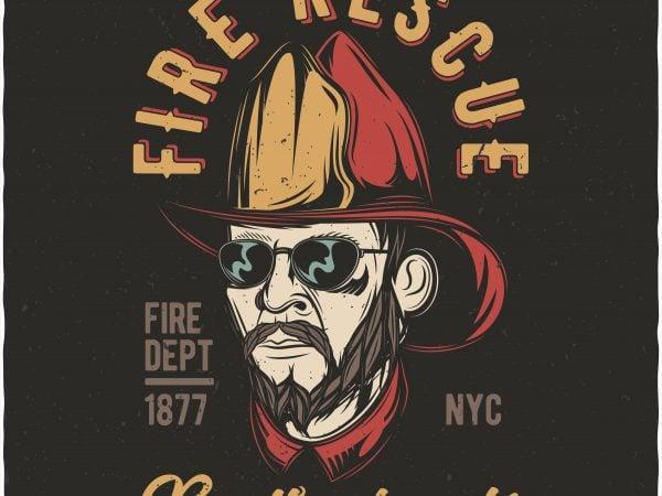 Fire rescue brotherhood. Vector T-Shirt Design buy t shirt design