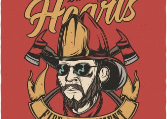 Burning hearts fire department. Vector T-Shirt Design buy t shirt design