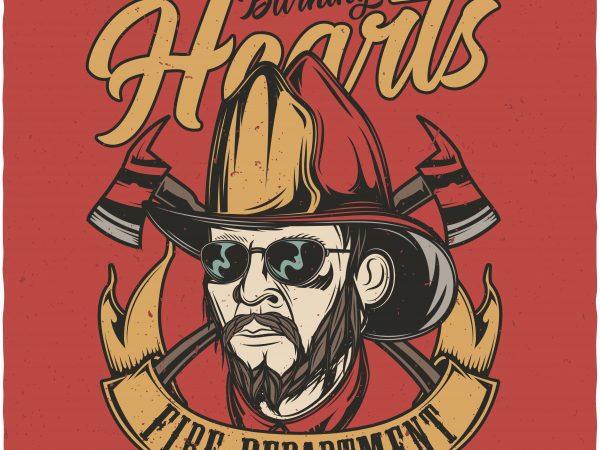 Burning hearts fire department. Vector T-Shirt Design buy t shirt design