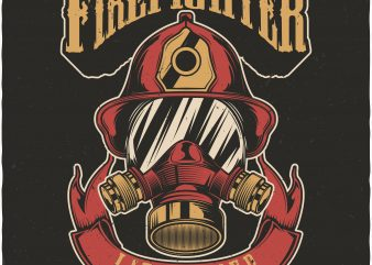 Firefighter life saver. Vector T-Shirt Design