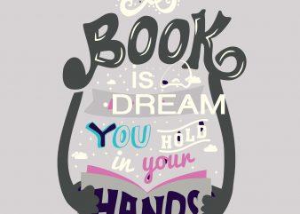 A Book is Dream - Student Tshirt Design buy t shirt design