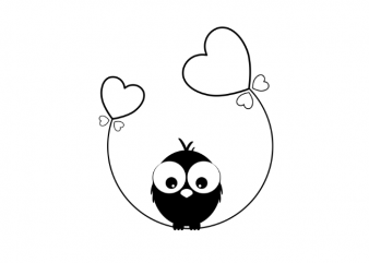 A bird and a heart balloon graphic t shirt design