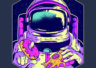 Astronaut eating donut and pizza buy t shirt design