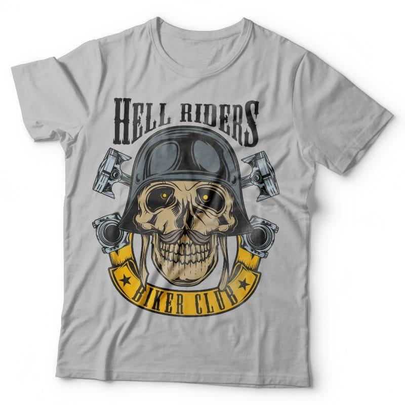 Hell riders biker club. Vector T-Shirt Design buy t shirt design