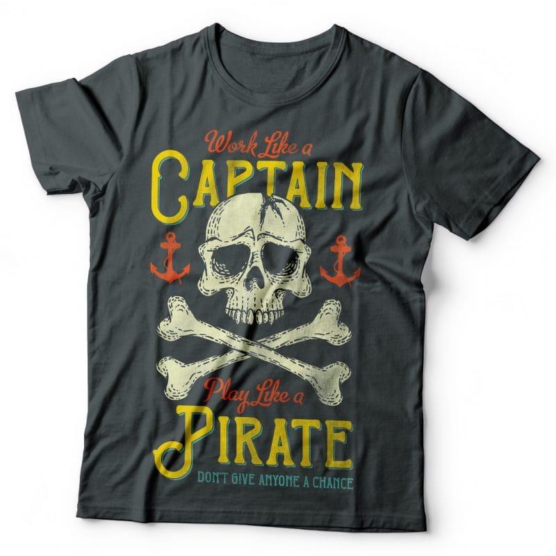 Work Like A Captain. Vector T-Shirt Design buy t shirt design