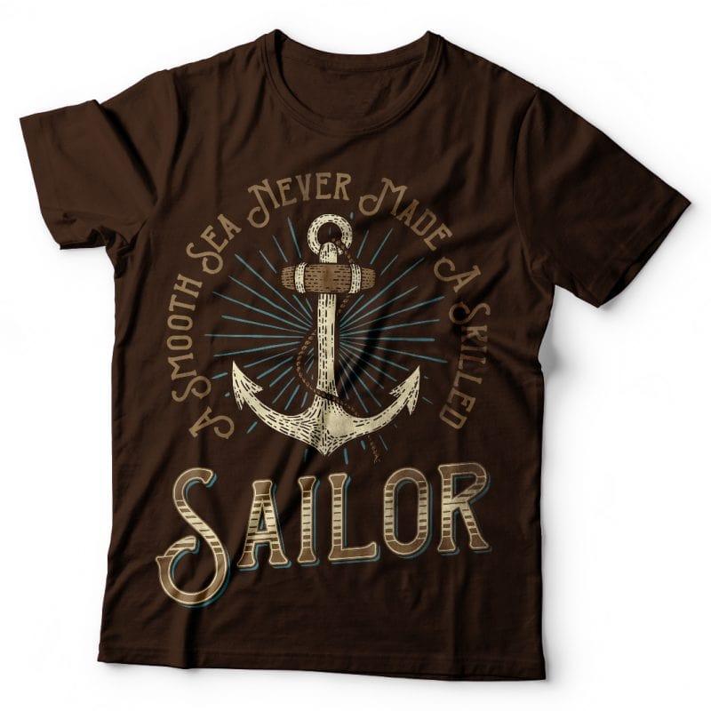 Skilled Sailor. Vector T-Shirt Design buy t shirt design