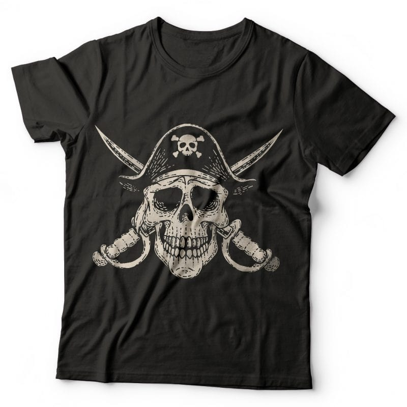 Pirate Skull. Vector T-Shirt Design buy t shirt design