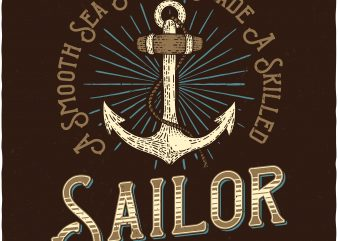 Skilled Sailor. Vector T-Shirt Design