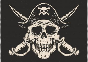 Pirate Skull. Vector T-Shirt Design